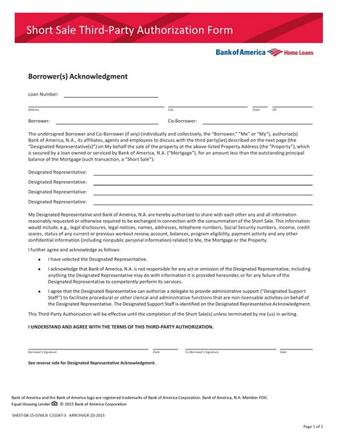authorization letter bank of america third authorization letter for loan modification