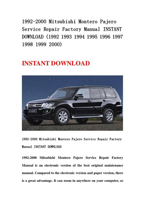 how to download repair manuals 1995 mitsubishi montero security system 1992 2000 mitsubishi montero pajero service repair factory manual instant download 1992 1993