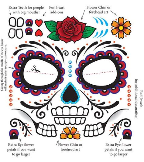sugar skull face tattoo day of the dead make up sugar skull tempoary