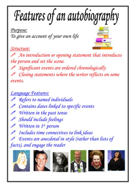 biography and autobiography primary resources features of an autobiography poster by moshing teaching