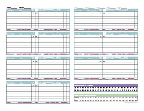 Weight Watchers Tracker Printable 6 best images of weight watchers point tracker sheet