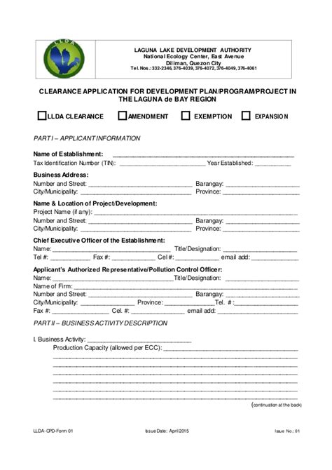 application form format llda clearance application form ms word format