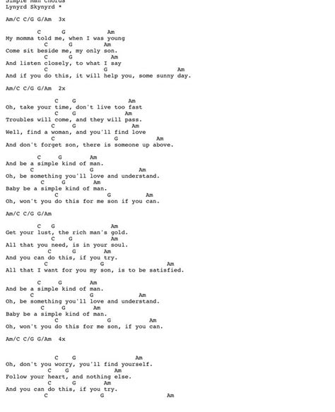 Simple Man Guitar Chords