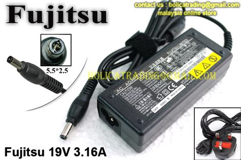 Adapter Charger Fujitsu 19v 316a fujitsu laptop oem power adaptor adapter charger 19v 3 16a 5 5x2 5 selangor end time 8 14 2013