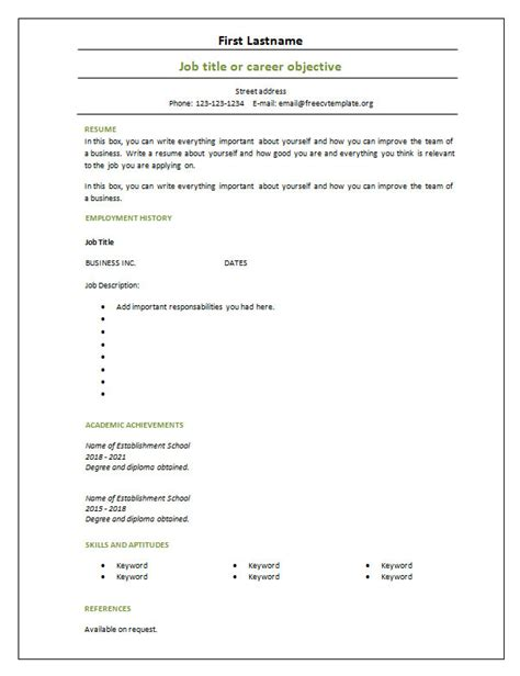 %name free printable fill in the blank resume templates