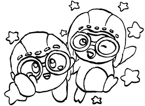 Coloring Page Pororo Pororo And Kirby 3 Pororo Coloring Pages