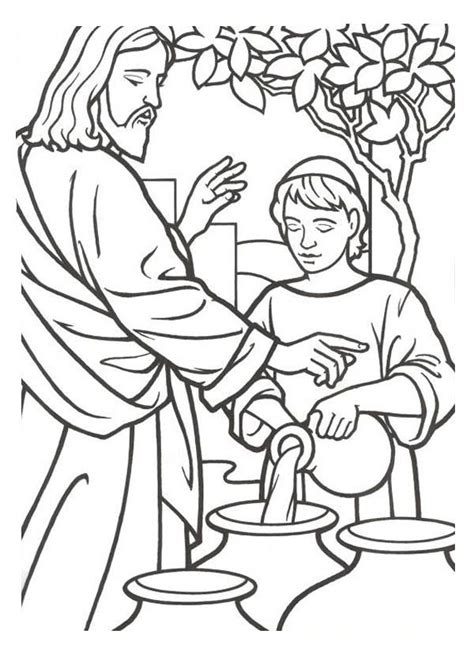 coloring pages jesus first miracle 30 best jesue turns water into wine images on pinterest