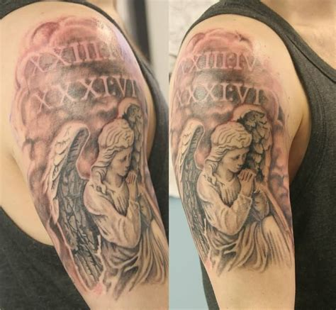 kneeling angel tattoo designs 30 praying on half sleeve golfian