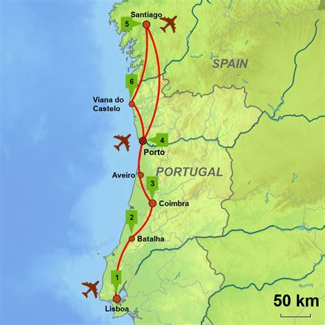 camino way map portuguese way lisboa to santiago self drive touring