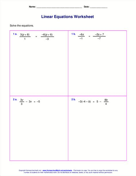 expressions and formulas worksheet free worksheets for linear equations grades 6 9 pre algebra algebra 1