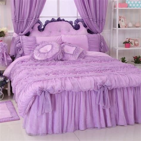 korean purple flannel bedding set princess lace ruffles