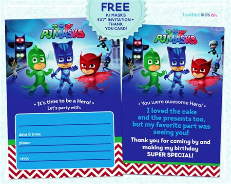 pj masks invitation printable free