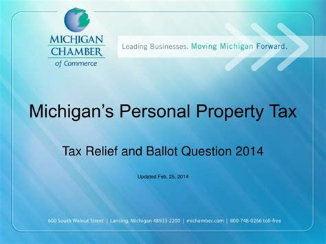 personal relief 2014 ppt michigan s personal property tax t ax relief and