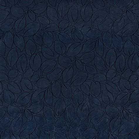 Navy Blue Upholstery Fabric by Navy Blue Leaves Microfiber Upholstery Fabric By The Yard