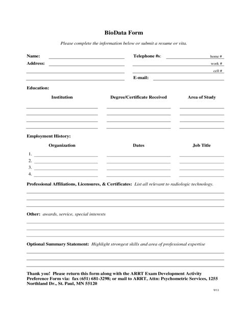 biodata format for vocational training sle biodata form free download
