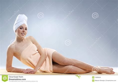 sexy bathtub a young and woman after taking a bath royalty free stock