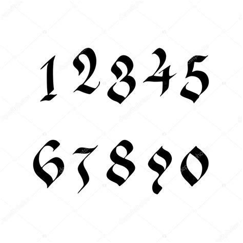 numeri scritti in lettere numeri scritti a mano in stile gotico vettoriali stock