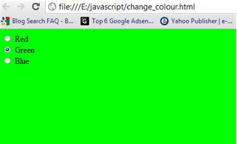 javascript on layout change how to change webpage background color using javascript