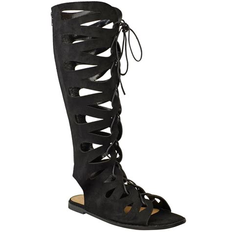 flat boot sandals womens flat knee high gladiator sandals strappy