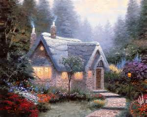 kinkade cedar nook cottage painting cedar nook