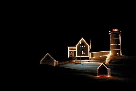 nubble lighthouse christmas lights photograph by denyse
