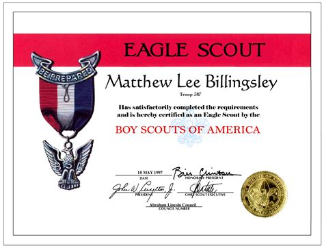 eagle scout card template certificate of appreciation cub scouts images