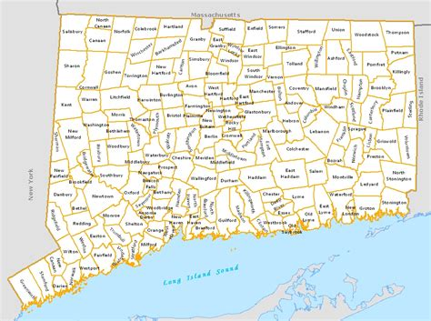 map of ct towns connecticut town map my