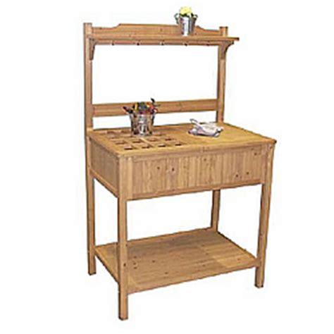 potting bench kits wood potting bench with recessed storage mpg pb02