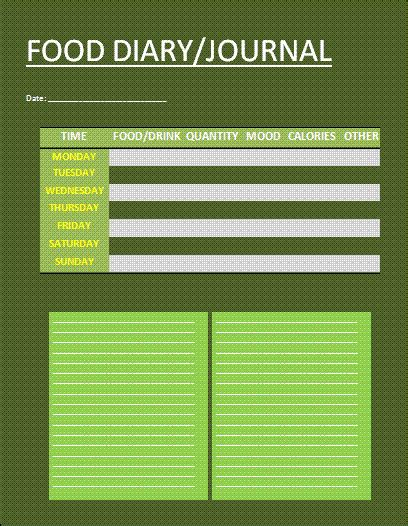 free food templates food journal template free word s templates