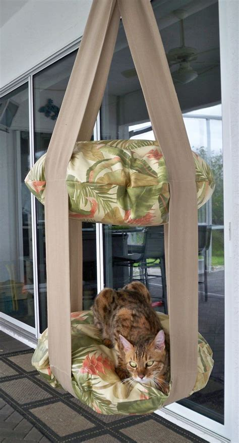 hanging cat bed tropical print outdoor double kitty cloud hanging cat bed
