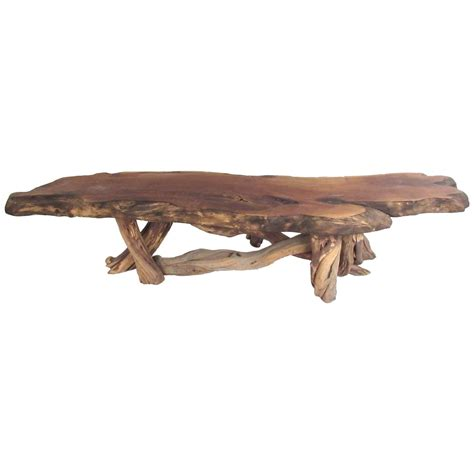 vintage rustic freeform tree slab coffee table for sale at