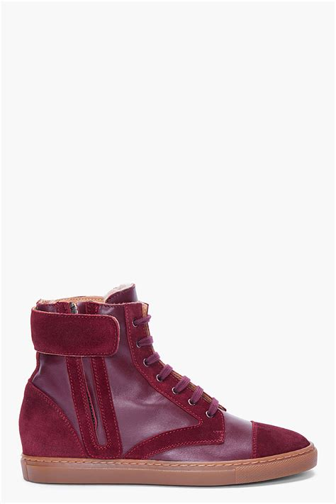 burgundy sneaker wedges common projects burgundy leather wedge sneakers in