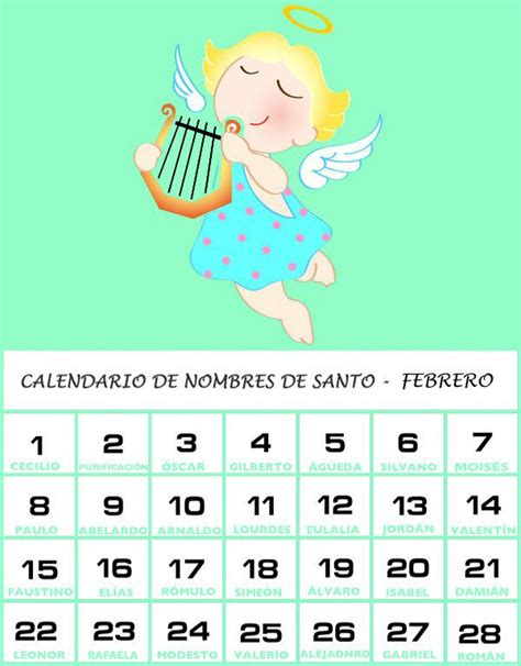 Calendario Mexicano Con Santos Calendario De Los Nombres De Santos De Febrero
