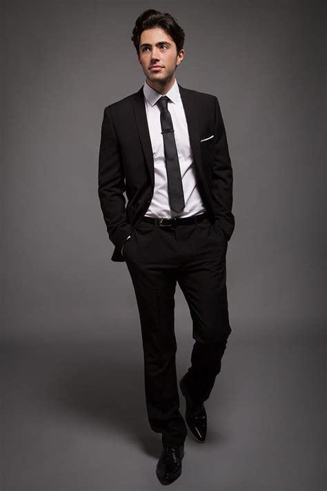 19642 White Black Suit classic black slim fit suit for the groom with white shirt and black slim tie boutonnieres