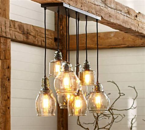 pottery barn kitchen lighting paxton glass 8 light pendant pottery barn