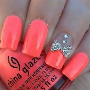 neon coral acrylic square tip nails w rhinestones amp bow