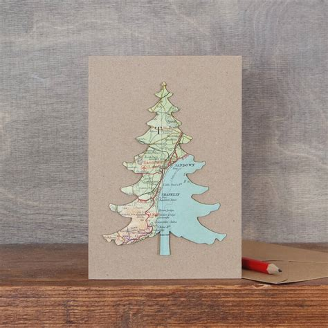 map location christmas tree card by bombus
