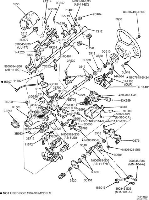 exploded view    ford  tilt steering column services
