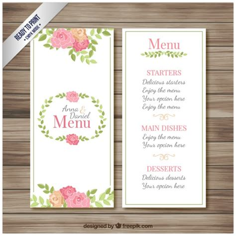 Wedding Menu Brochure wedding menu brochure vector free