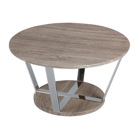 Table Basse Ronde En Acier by Table Basse Ronde 80cm En Acier Et Plateau Bois