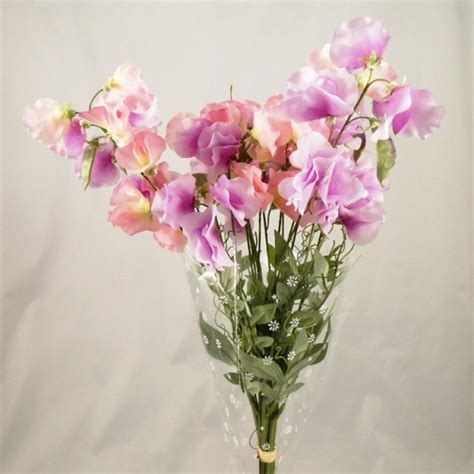 Bouquet Artificial Sweet stem artificial sweet peas bouquet pastel pink and lilac artificial flowers