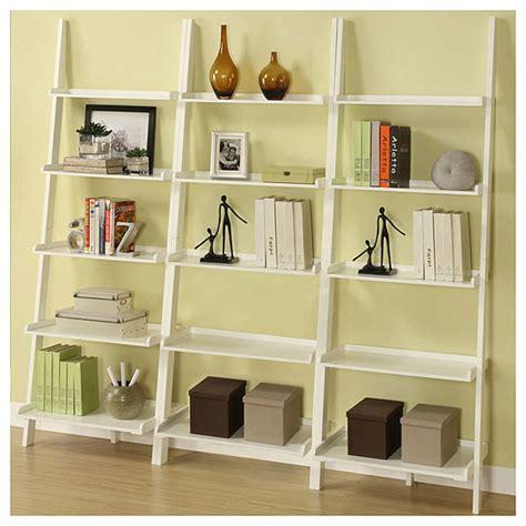 3 Shelf Ladder Bookcase by White Five Tier 3 Leaning Ladder Shelf Set