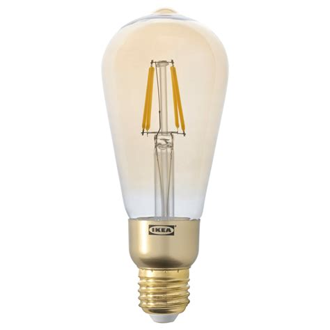 Lunnom Led Bulb E27 400 Lumen Dimmable Drop Shaped Brown Led Light Bulbs Ikea