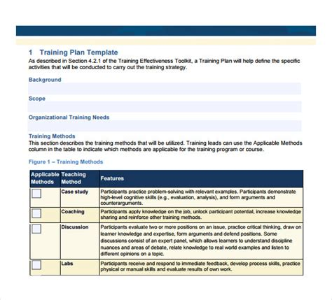 sle training plan 9 exle format