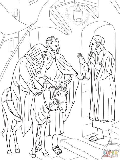 coloring pages mary and joseph bethlehem no room at the inn for mary and joseph coloring page