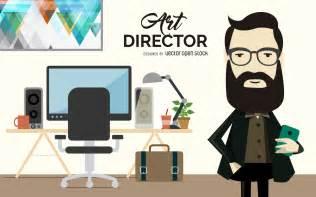Pink Art Desk Flat Art Director Illustration Vector Download