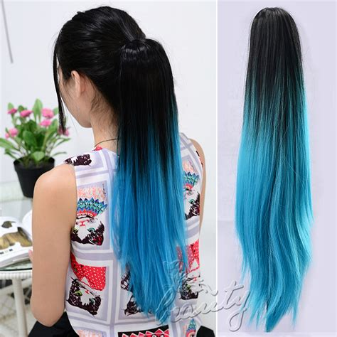 ponytail dip dye colour clip in hair ponytail dip dye colour clip in hair