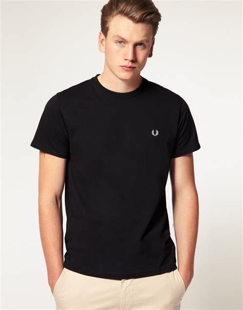 Fred Perry T Shirt lyst fred perry t shirt with crew neck in black in black