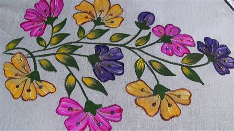 painting designs fabric painting sari double shade design youtube