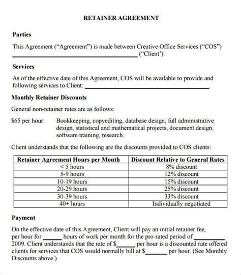 rate agreement template retainer agreement 9 free documents in pdf